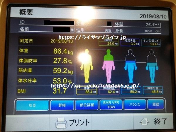 ライザップの体組成計の測定結果